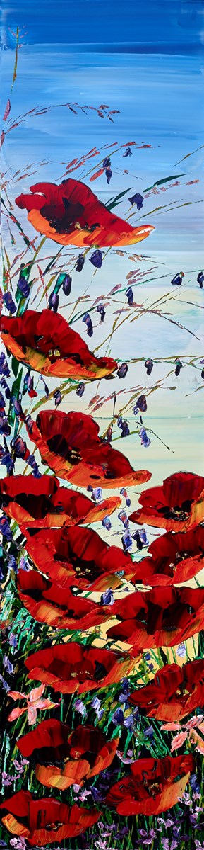 Poppy Meadow I  by maya eventov -  sized 12x48 inches. Available from Whitewall Galleries